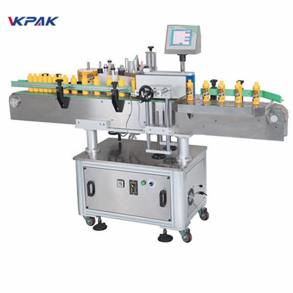 Automatisk rund flaske etiketteringsmaskine til en side klæbemærke
