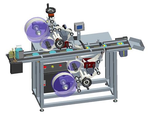Automatisk klæbemaskine med øvre og nedre klæbemærker