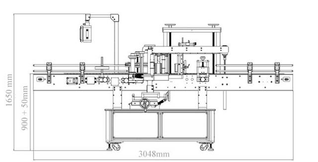 Diagram over automatiske sider med dobbelt hoved plus rund flaskemærkningsmaskine