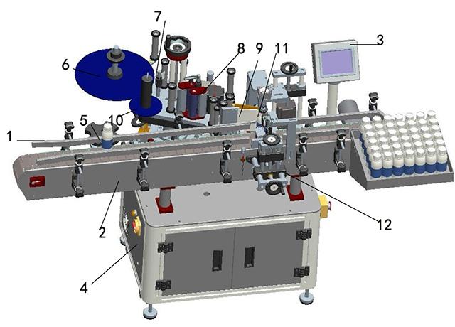 Detaljeret illustration af mærkning maskine