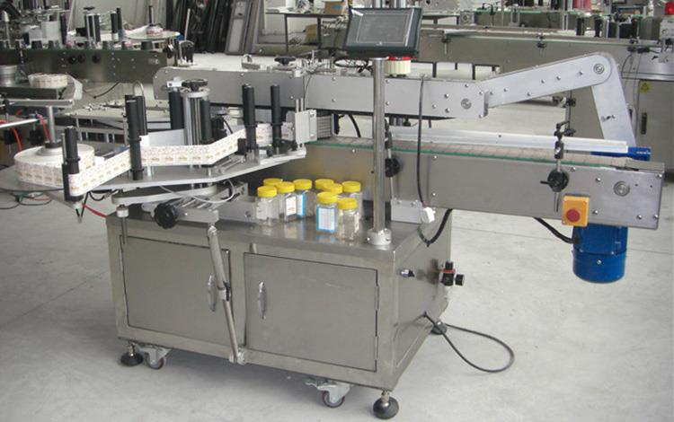 Flad flaske dobbelt sider mærkning maskine til forskellige flade firkantede flaske krukke