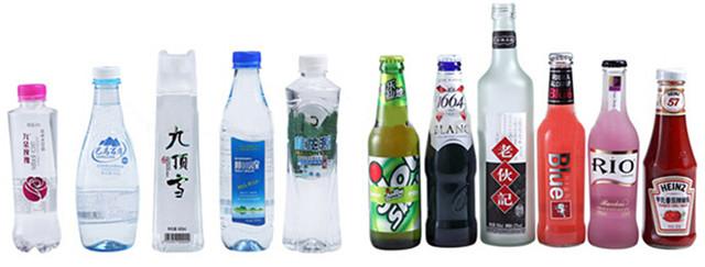 Fuldautomatisk højhastigheds roterende PET-plastflasker Mærkemaskine Typer af flasker